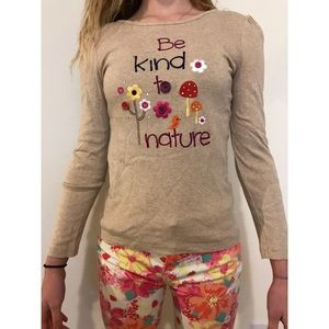 """""""be kind to nature"""" beige long sleeved tee!"""